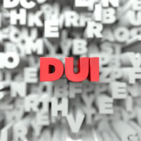 Red letters that read DUI